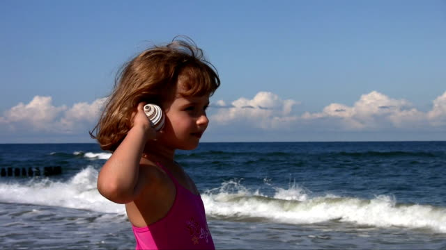 stockvideo's en b-roll-footage met little girl with shell at the beach - schild lichaamsdeel van dieren