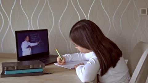 vídeos y material grabado en eventos de stock de niñas que asisten a la clase en línea desde casa. - maestro