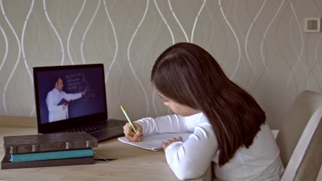 vídeos de stock e filmes b-roll de little girls attending to online class from home. - educação