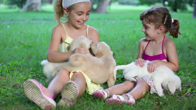 Little Girls playing with puppies