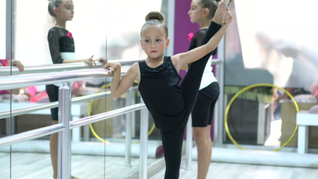 little girls preparing for ballet training indoors - ballet dancing stock videos & royalty-free footage