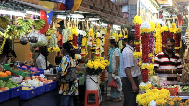 vídeos y material grabado en eventos de stock de  little india, flower market on jalan tun sambantham,  kuala lumpur, malaysia, south east asia, - kuala lumpur