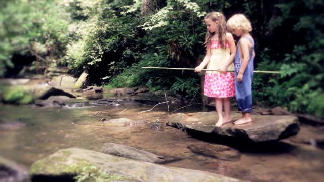 Little Kids Fishing In Creek