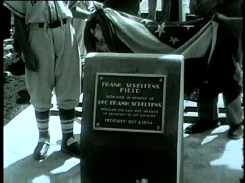 vídeos y material grabado en eventos de stock de wgn little league baseball field is dedicated as a memorial to frank sheltons a 22yearold river grove soldier who was killed july 29 in river grove... - 1954