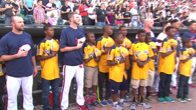 US Little League champions Jackie Robinson West baseball team meets the Chicago White Sox at US Cellular Field on Aug 30 2014 in Chicago