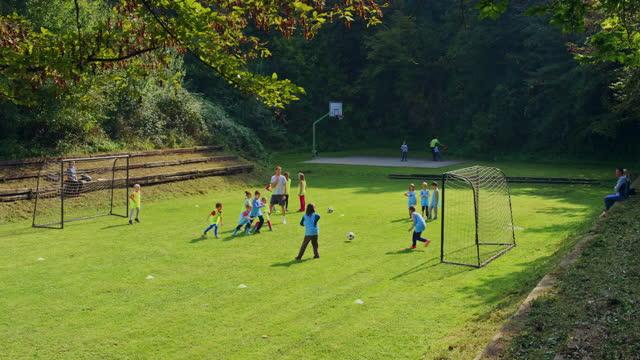 vídeos y material grabado en eventos de stock de ld little league niños jugando al fútbol en el campo soleado - campo de fútbol