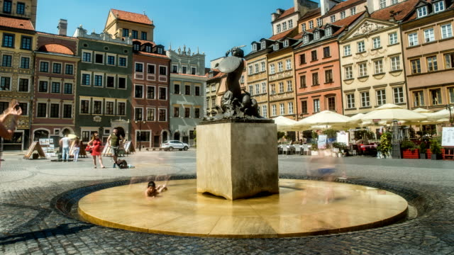 little mermaid fountain statue old town warsaw poland - warsaw stock videos & royalty-free footage