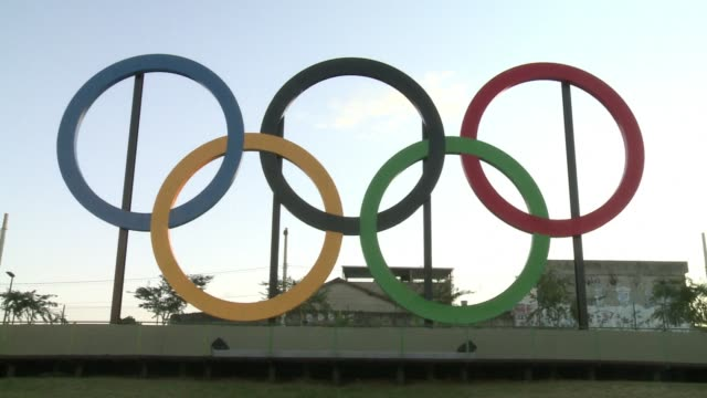 a little over the year before the start of the 2016 summer olympics host city rio de janeiro inaugurates the five rings symbolising the movement with... - the olympic games stock videos & royalty-free footage