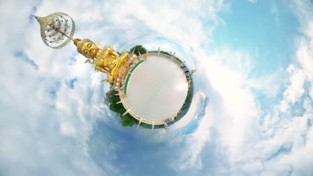 vídeos de stock e filmes b-roll de little planet buddha statue at temple famous place landmark in chiang mai 360 view - panorama equiretangular