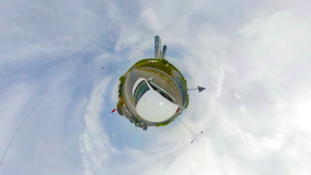 little planet - car in the streets - fish eye lens stock videos & royalty-free footage