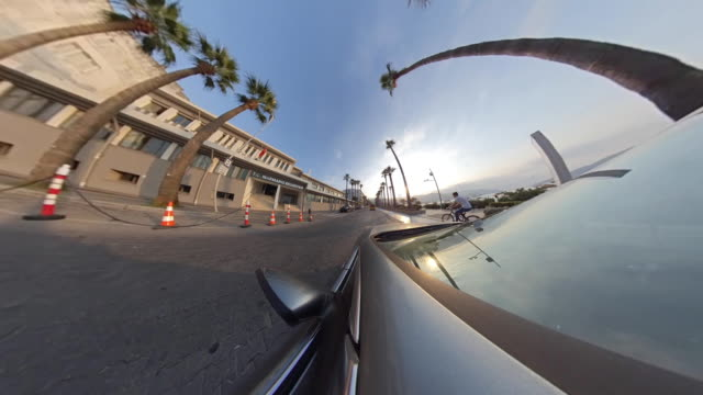 little planet - car in the tropical city - panoramic stock videos & royalty-free footage