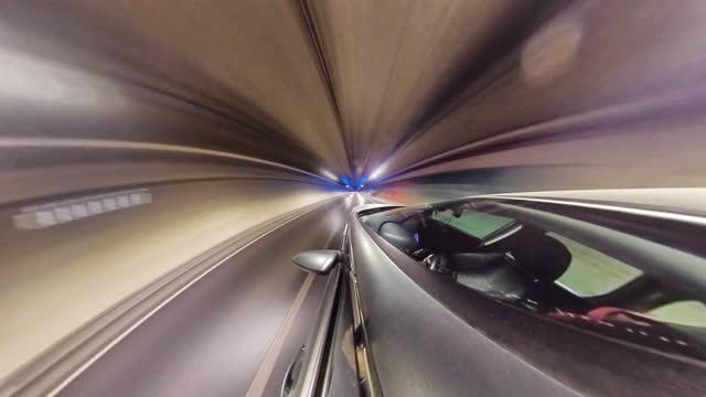 vídeos de stock e filmes b-roll de little planet - car in the tunnel - panorama equiretangular
