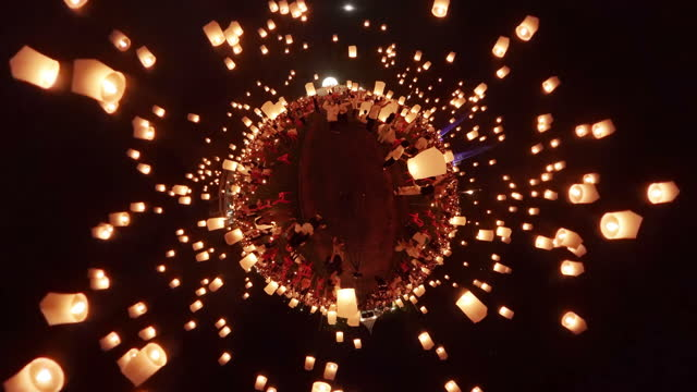 360 little planet sky lanterns in loi krathong international festival, destination travel of chiang mai, thailand. 8k source - sky lantern stock videos & royalty-free footage