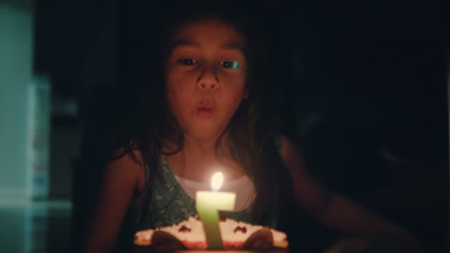little pretty girl with birthday cake - birthday gift stock videos & royalty-free footage