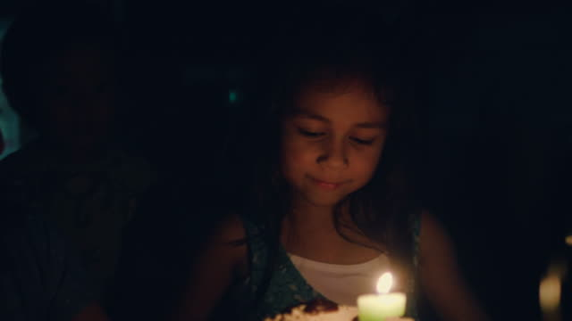 little pretty girl with birthday cake - birthday candle stock videos & royalty-free footage