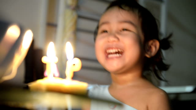 little pretty girl with birthday cake - birthday stock videos & royalty-free footage
