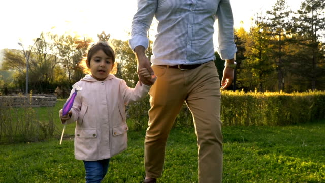 little princess holding her father's hand - princess stock videos & royalty-free footage