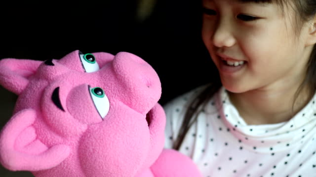 little puppeteer with pig and fox hand puppet - puppet stock videos & royalty-free footage