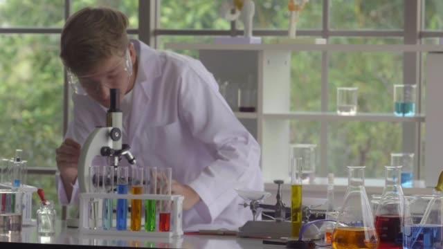 piccoli scienziati che usano i microscopi - chimica video stock e b–roll