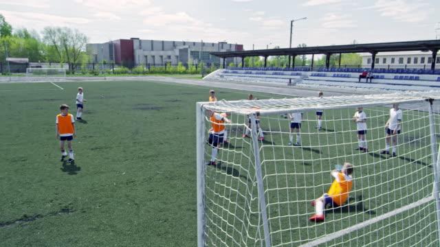 Little soccer player practicing goal