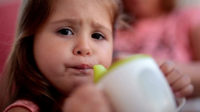 little toddler drinking yoghurt - toddler stock videos & royalty-free footage