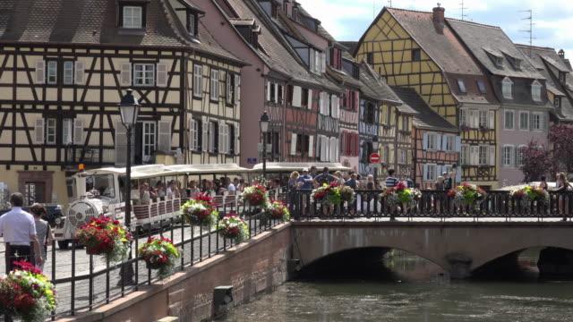 Little tourist train in La Petite Venise in Colmar