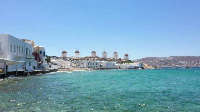 little venice and windmills, mykonos town, mykonos island, greece - cyclades islands stock videos & royalty-free footage