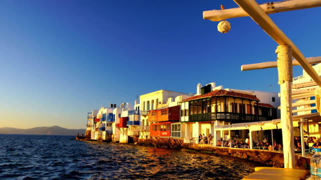 little venice mykonos greece - mykonos stock videos & royalty-free footage