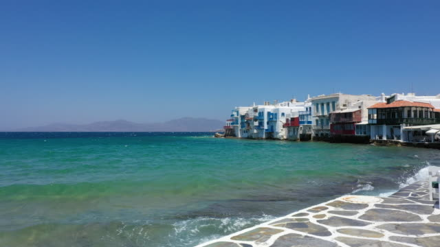 little venice, mykonos town, mykonos island, greece - mykonos stock videos & royalty-free footage