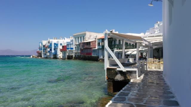 little venice, mykonos town, mykonos island, greece - mykonos stock videos & royalty-free footage