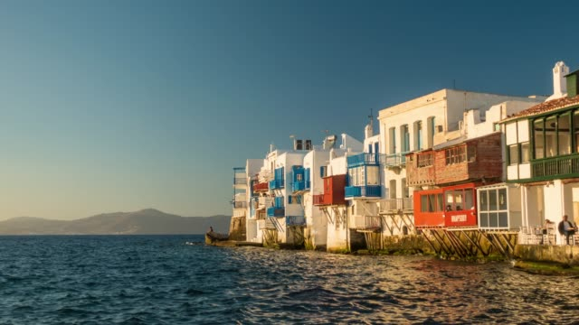 little venice part of mykonos town, mykonos island - mykonos stock videos & royalty-free footage