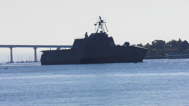 littoral combat us navy warship on san diego harbor - us navy stock videos & royalty-free footage