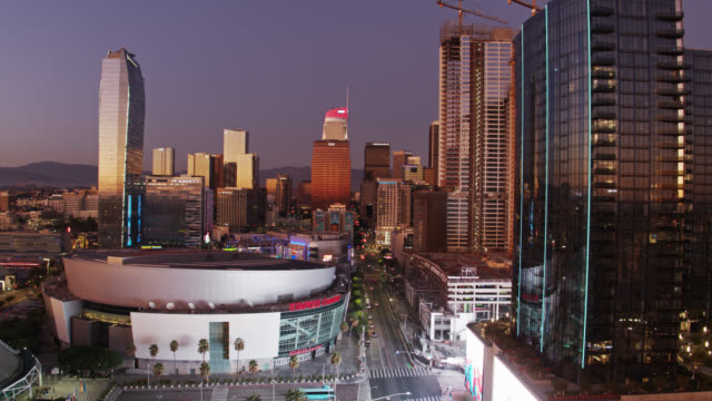 la live and south park, downtown la - aerial view - staples center video stock e b–roll