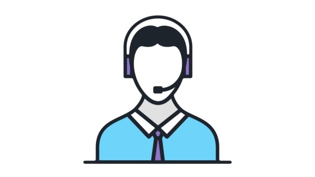 live assistance flat line icon animation with alpha - customer service representative stock videos & royalty-free footage