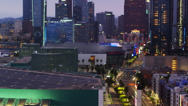 la live at dusk - drone shot - staples centre stock videos & royalty-free footage