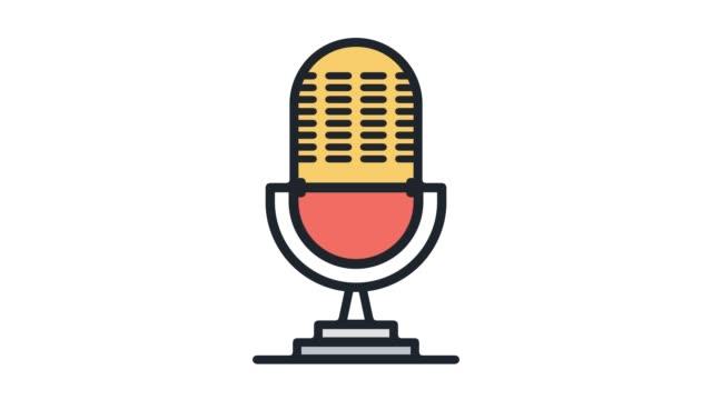 vídeos y material grabado en eventos de stock de live broadcasting animación icono de línea con alfa - micrófono