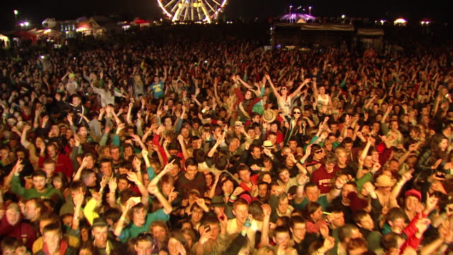 m/s ext live concert crowd night festival - scottish culture video stock e b–roll