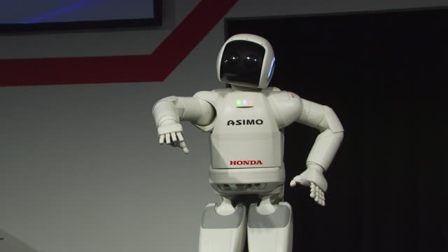 live demonstrations of asimo at the honda premieres 'living with robots' and live demonstrations of asimo at park city ut - asimo stock videos & royalty-free footage