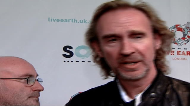 live earth concerts take place around the world; mike rutherford interview sot - all about raising global awareness - mike rutherford stock videos & royalty-free footage