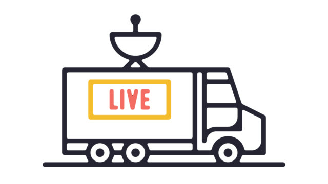 Live Event Stream Line Icon Animation with Alpha
