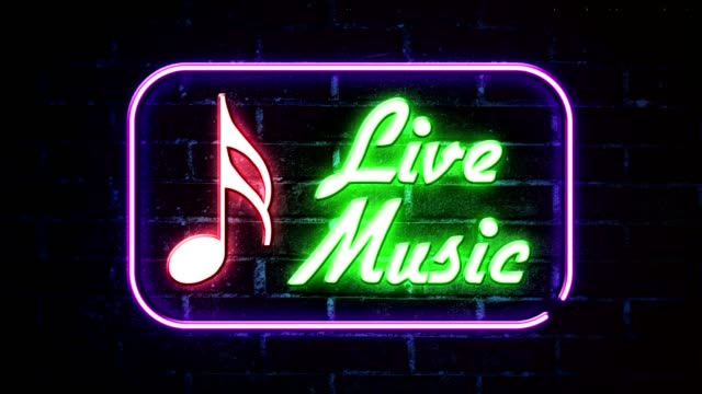 live music neon sign - musical symbol stock videos & royalty-free footage