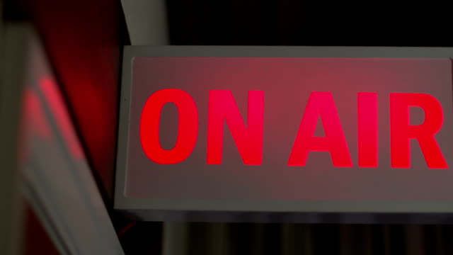 ON AIR live sign lit up, TV or Radio Station