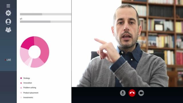 webinar in diretta streaming, smart working da casa sui futuri piani aziendali - social gathering video stock e b–roll
