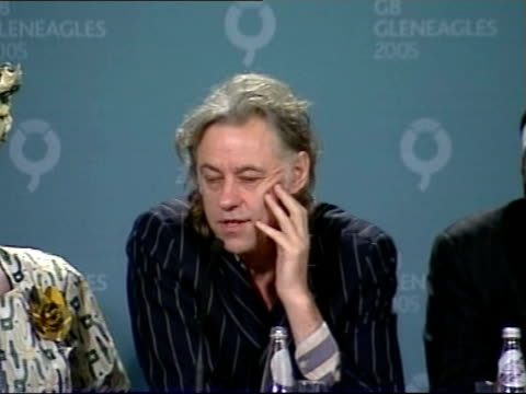 live8 organisers' press conference bob geldof press conference sot i don't know about one gig i don't know that you can say the whole population of... - g8 summit stock videos & royalty-free footage