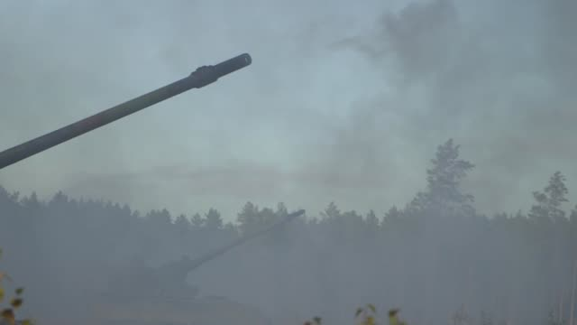 A livefire exercise involving German Howitzer 2000 tanks took place in Lithuania in October 2017 The artillery gun is able to shoot three rounds in...