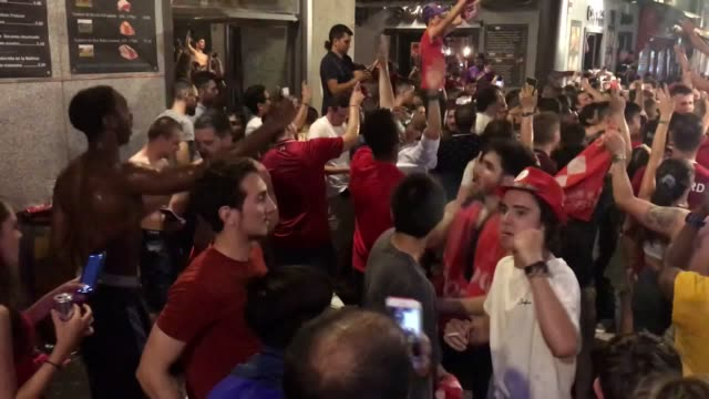 livepool fans celebrate in the streets of madrid after their team win the champions league final against tottenham. content warning: please be aware... - final round stock videos & royalty-free footage
