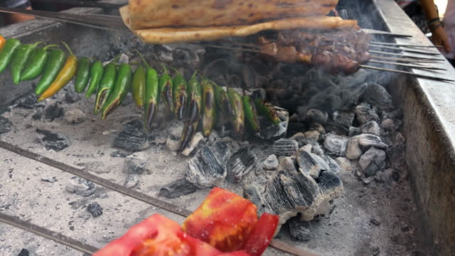 Liver Kebab on Barbecue as a Street Food in Eastern Anatolia