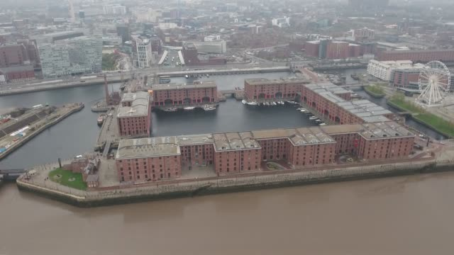 Liverpool Albert Dock Aerial Video Apporaching from River Mersey