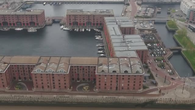 Liverpool Albert Dock Aerial Video Tracking Right to Left