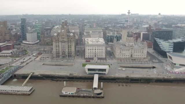 Liverpool Cityscape from Waterfront Aerial Video